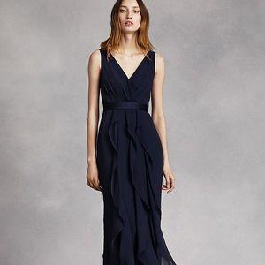 Navy V-Neck Wrapped Dress VERA WANG VW360189($199)